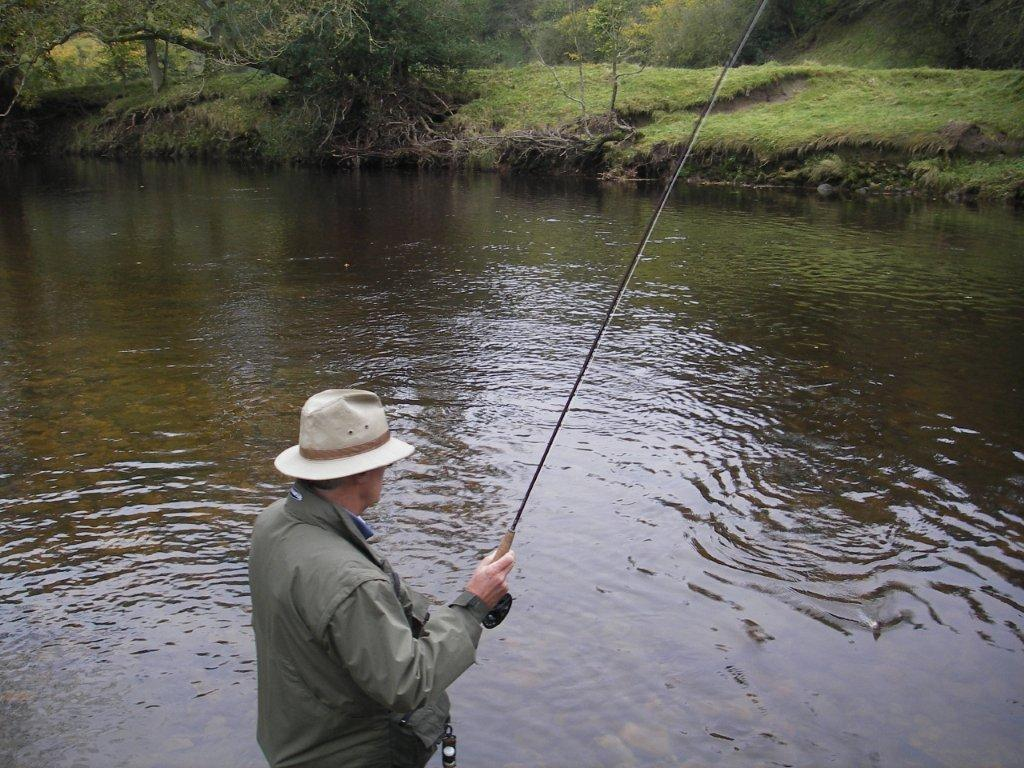 Kevin playing a late Autumn Grayling