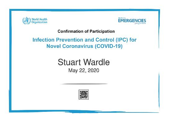 Certified in Infection & Prevention Control of Covid19
